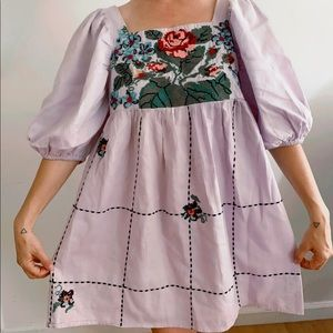 Embroidered Puffy Sleeve Mini Dress.